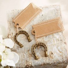 Place Cards with Mini Horseshoes by Beau-coup