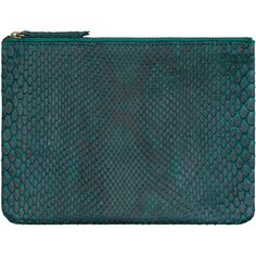 Dark Green Python Pouch ($229) ❤ liked on Polyvore featuring bags, handbags, clutches, leather clutches, zipper purse, leather zip pouch, blue purse and python handbags