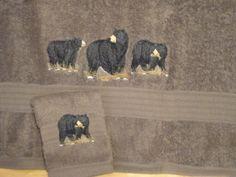 Bath Towel Set - Black Bears by cybergeeks2 on Etsy