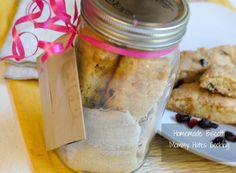 Homemade White Chocolate Cranberry Biscoitt in a Jar for mother's day! (Can be made gluten free with gluten free all purpose flour)