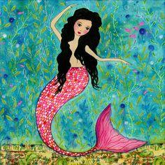 Mermaid Art, Dancing Mermaid Painting by Mixed Media Artist Sascalia | Flickr - Photo Sharing!