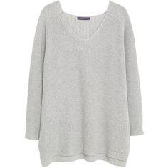 Violeta by Mango Cotton Wool-Blend Jumper , Medium Grey found on Polyvore featuring tops, sweaters, medium grey, plus size tops, vneck sweater, plus size jumpers, grey v neck sweater e womens plus sweaters
