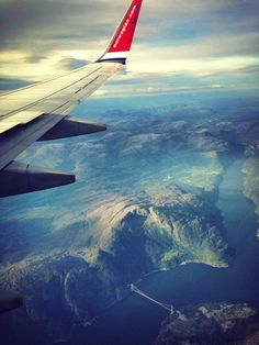 The carrier Norwegian flying over the Hardangerfjord and the Hardanger bridge (2013). Norway. Photo by CF-Wesenberg. www.facebook.com/flynorwegian #Norway ☮k☮ #Norge