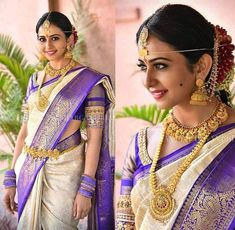 Southern Look To Love :- AwesomeLifestyleFashion Magneta Pink . South Indian Wedding Saree, Wedding Silk Saree, Pakistani Bridal Wear, South Indian Bride, Indian Bridal, Indian Weddings, Saree Blouse Neck Designs, Bridal Blouse Designs, Silk Saree Kanchipuram