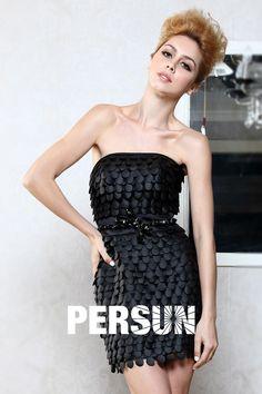 Petite robe noire bustier avec ceinture nœud papillon brillante - Persun.fr 195ac0f6176