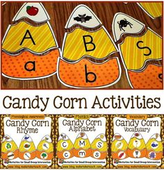 Candy corn activities for rhyme, letters/sounds and vocabulary