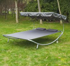 Patio Outdoor Double Hammock Bed Sun Lounger w/Sun Shade Canopy Wheels Swim Pool #Outsunny