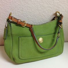 Authentic Leather Coach Purse This beautiful Avocado Green Authentic Coach Purse in excellent condition inside and out, only used a few times Coach Bags Shoulder Bags