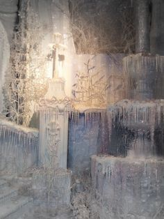 Fortnum & Mason Christmas window display (use hot glue drips and glitter for icicles