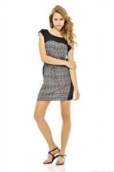 Monochrome Print Panel Dress