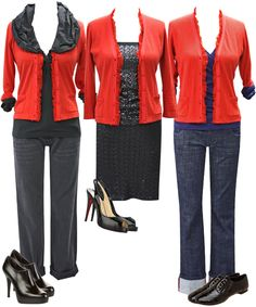 How to Wear: A RED CARDIGAN. I like the red cardi over theater top!