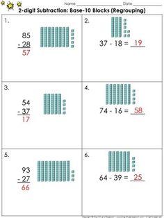 2 digit addition use base 10 blocks regrouping practice sheets king virtue creative. Black Bedroom Furniture Sets. Home Design Ideas