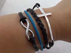 Unlimited bracelet ancient silver  unlimited cross black by Jiadan, $8.99