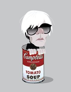 Andy Warhol in a Campbell's Soup Can, pop art.