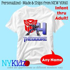 Personalized Optimus Prime Transformers Birthday Shirt by NYKidz, $9.95