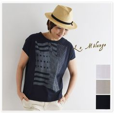 【Le Melange ル・メランジュ】<br>コットン アメリカ 星条旗 プリント Tシャツ (6621008)