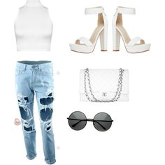Casual white by assiapayne on Polyvore featuring polyvore, fashion, style, WearAll and Chanel