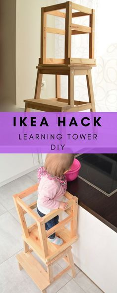 Learning Tower Ikea - Instructions for the Learning Tower from Ikea Stools and Chairs. Very simple DIY for the learning tower. About Learning Tower selbst bauen - unsere Anleitung aus Ikea Möbeln PinYo Tour Dapprentissage, Ikea Hack Learning Tower, Diy Montessori, Montessori Infant, Baby Room Boy, Chaise Ikea, Diy Tumblr, Cats Diy, Diy Décoration