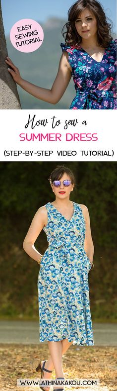 A step by step video tutorial to sew a gorgeous summer dress, the Lisa dress by Athina Kakou Patterns. #akpatterns #lisadress #aklisa #learntosew