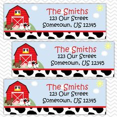 Barn Yard Red Farm Animals - Personalized Address labels, Stickers by sharenmoments on Etsy