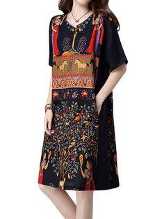 Gracila Vintage Women Short Sleeve Printed Split O-Neck Loose Dresses Shopping Online - NewChic Mobile.
