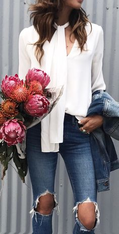 #spring #fashion /  White Silk Blouse / Destroyed Skinny Jeans