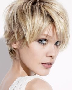 A short blonde straight coloured Mature Layered Womens haircut hairstyle by Jean Louis David