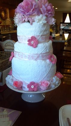 Towel cake for my daughters bridal shower.