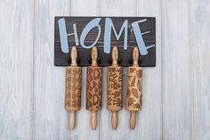 ROLLING PIN HOLDER  wooden hanger for 4 mini engraved rolling