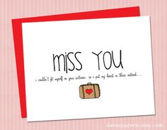 I miss you card cute miss you card boyfriend by danaspaperie, $2.99