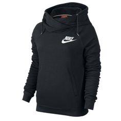 Nike Rally Funnel Neck Hoodie - Women's - Black/Black/Summit White