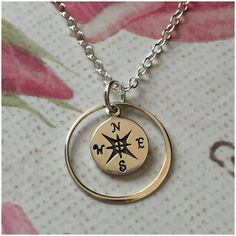 Sterling silver Compass Necklace - Eternity Necklace - Custom Compass Jewelry - Journey Necklace - Compass Charm Necklace - Friendship Gift