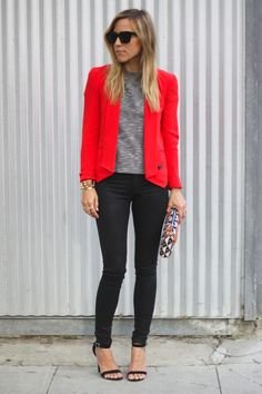 iMyne Fashion: Shopping Your Favorite Designer | Rebecca Minkoff. Damsel in Dior. Her Name is Becky. Red Blazer. How to wear a Red Blazer. pop of color. Tribal print clutch. Ikat clutch.