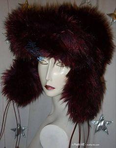 chapeau hiver toque chapka rouge bordeaux irisé noir