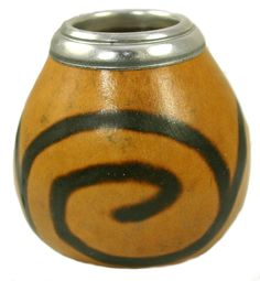 Ancient Markings: Natural Yerba Mate Gourd with Metal Rim - Make a right decision before purchasing a Yerba mate gourd. Visit organicmate.net