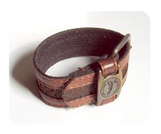 Brown leather wrist band / CUFF / bracelet  upcycled by MuCrafts, $9.00