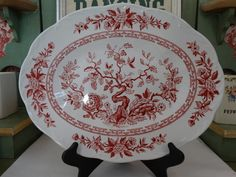 J. & G. Meakin Platter in the India Pattern in Red Transferware. Made in England. by HomecomingDiningRoom on Etsy