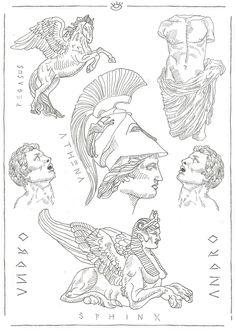 Flash Sheet 1 on Behance Tattoo Sketches, Tattoo Drawings, Art Sketches, Art Drawings, Unique Tattoos, Small Tattoos, Greek Mythology Tattoos, Greek Mythology Art, Athena Tattoo