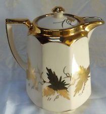 Beautiful Vintage Price Bros. Cream & Gold Leaf Tea Pot ~  Made in England.