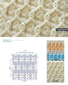 Punto mosaico marroquí tejido a crochet / Moroccan tile crochet stitchCrochet Patterns Stitches Knitted Moroccan tile or crochet tile. Crochet Stitches Chart, Crochet Motifs, Crochet Diagram, Free Crochet, Knit Crochet, Stitch Patterns, Knitting Patterns, Crochet Patterns, Crochet Designs