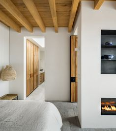 Mexican House Impresses With Exposed Wooden Ceiling Beams Mexican House Impresses With Exposed Wooden Ceiling Beams The Contemporary White Minimalism Of Simple Rectangular Shapes In The Architectural Construct Of This Modern Retreat House In Mexico Is