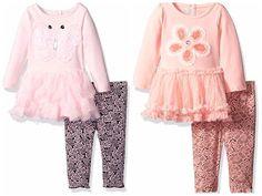 NWT Baby Girl NANNETTE Knit Tutu Tunic Mesh Skirt & Legging Set 2 Pc Outfit Pink #NannetteBaby #TwoPieceSetTunicLegging #CasualPlaywearDressyEveryday