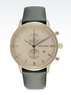 Watch of the Week: Emporio Armani's Timely Timepiece WOW, such a simple and classix look.a much cheaper version of the IWC Portuguese.really love the green/gray band and how it looks vintage. Men's Watches, Armani Watches, Luxury Watches, Cool Watches, Fashion Watches, Watches For Men, Armani Men, Emporio Armani, Giorgio Armani