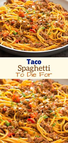 INGREDIENTS: 1 tablespoon olive oil 1 pound ground beef* 1 package taco seasoning 1 can) Ro*Tel® Mild Diced Tomatoes & Green Chilies 1 tablespoon tomato paste 8 ounces spaghetti Casserole Recipes, Meat Recipes, Pasta Recipes, Mexican Food Recipes, Dinner Recipes, Cooking Recipes, Healthy Recipes, Skinny Recipes, Al Dente