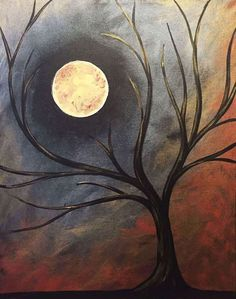 Browse our upcoming painting classes and events at Addison Pinot's Palette! Reserve your seat for the best paint and sip experience today! Moon Painting, Autumn Painting, Autumn Art, Painting & Drawing, Halloween Painting, Halloween Art, Halloween Canvas, Paint And Sip, Moon Art