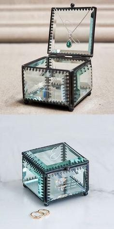 Weddingstar Personalizable Vintage-Inspired Glass Jewelry Box
