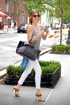 white jeans + stripes