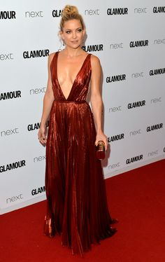 Kate Hudson Evening Dress - Kate Hudson attended the Glamour Women of the Year Awards looking va-va-voom in a plunging red lurex gown by J. Mendel.