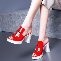 Shoespie Sexy Patent Leather Platform Chunky Heel Mules