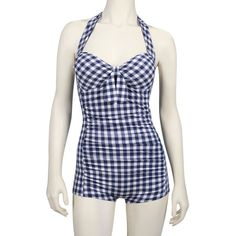 Gingham Boy Leg One-piece Swimsuit in Blue/White    Saw this on a woman in Seaside and LOVED it.  I would buy it in a ♥beat  Joyus.com